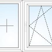 Zweiteiliges Fenster fix im Flügel + kipp/dreh