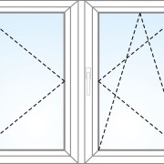 Zweiflügeliges Fenster mit beweglichem Pfahl dreh+kipp/dreh