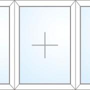 Dreiteiliges Fenster fix im Rahmen