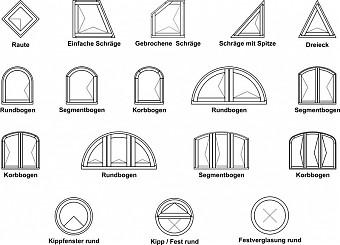 Simoplast Fenster - Sonderformen